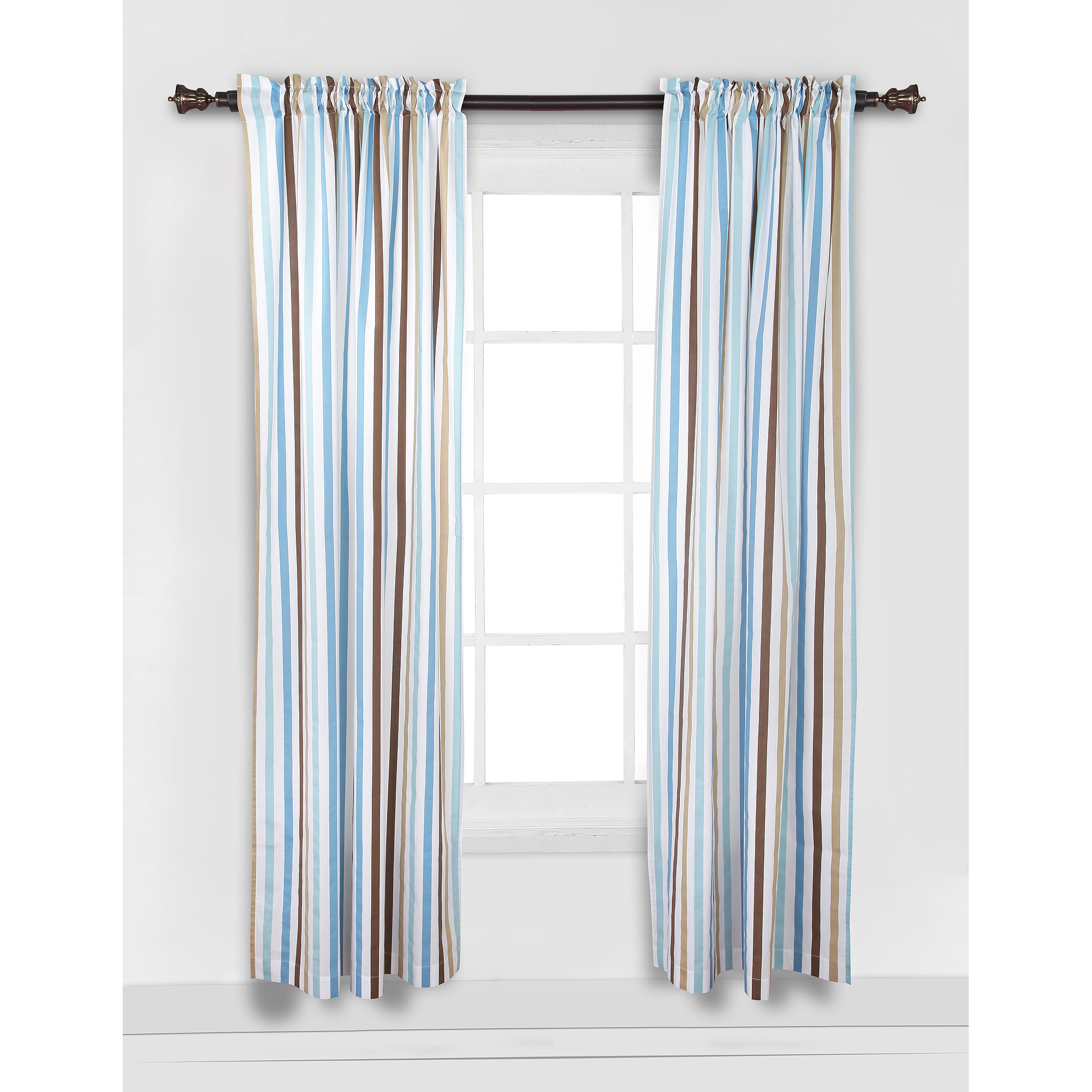 "Bacati Mod Diamonds and Stripes Curtain Panel 42""x84"" 100% Cotton percale fabrics, Aqua and Chocolate"