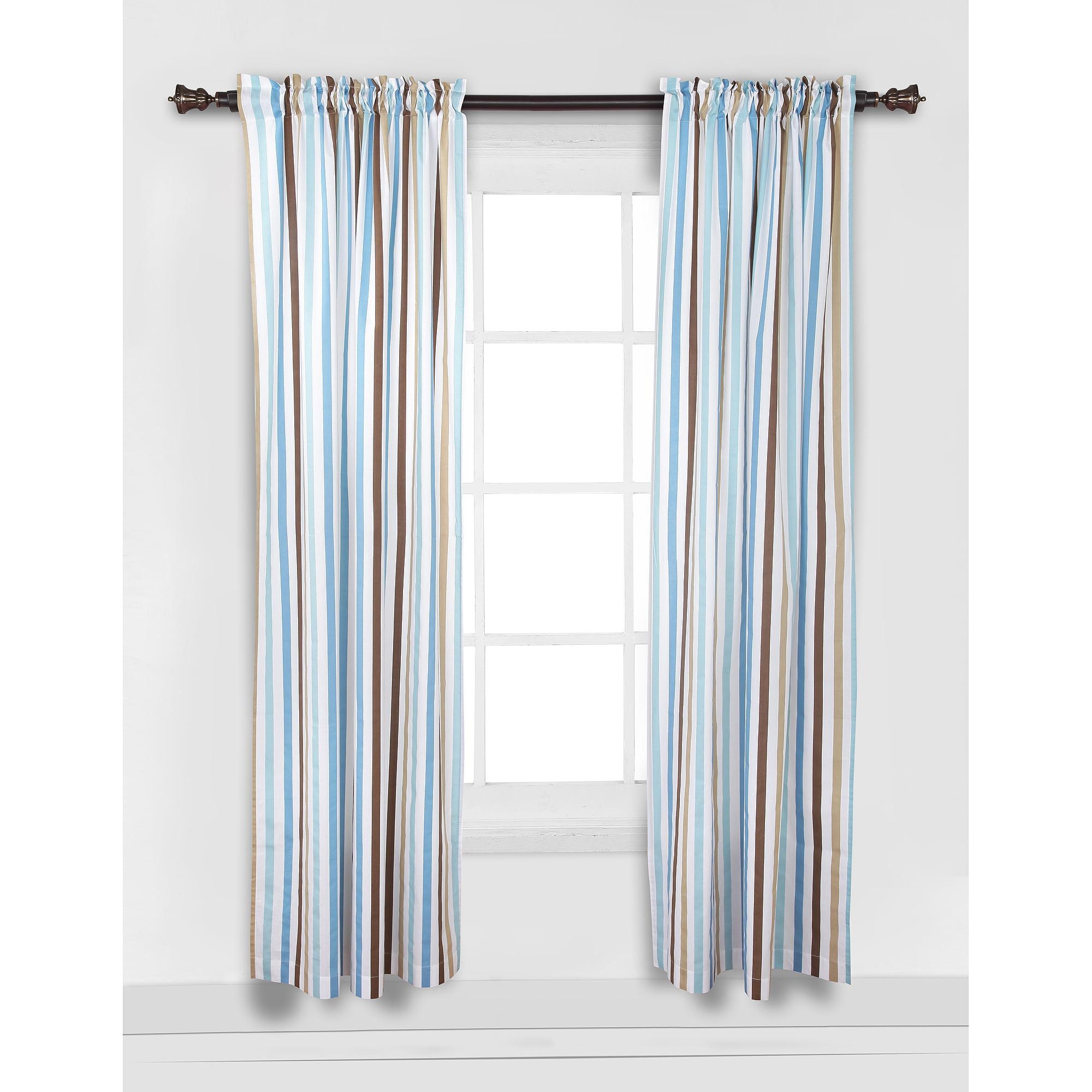 """Bacati Mod Diamonds and Stripes Curtain Panel 42""""x84"""" 100% Cotton percale fabrics, Aqua and Chocolate"""