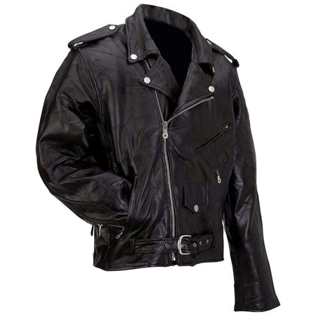 Diamond Plate Motorcycle Jacket (Diamond Plate™ Rock Design Genuine Buffalo Leather Motorcycle Jacket - Extra Large - GFMOTXL)