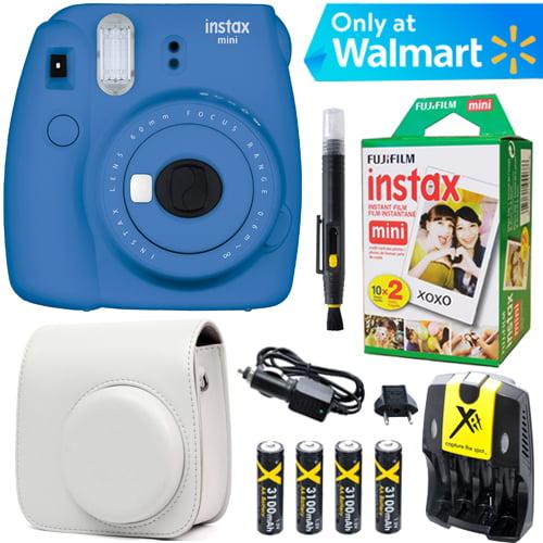 Fujifilm Instax Mini 9 Instant Camera  (Cobalt Blue) + White Case + 20 pk Film Kit