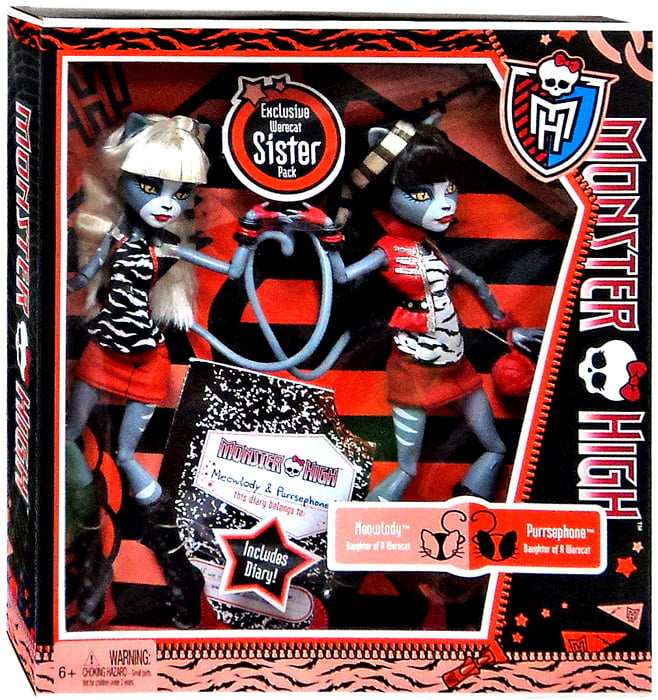 Monster High Meowlody & Purrsephone Doll 2-Pack by Mattel