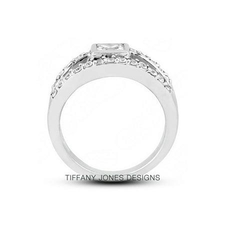 1.24ct tw E-VS1 Exc-Cut Princess AGI Natural Diamonds 14k Split Band Ring 8.3gr