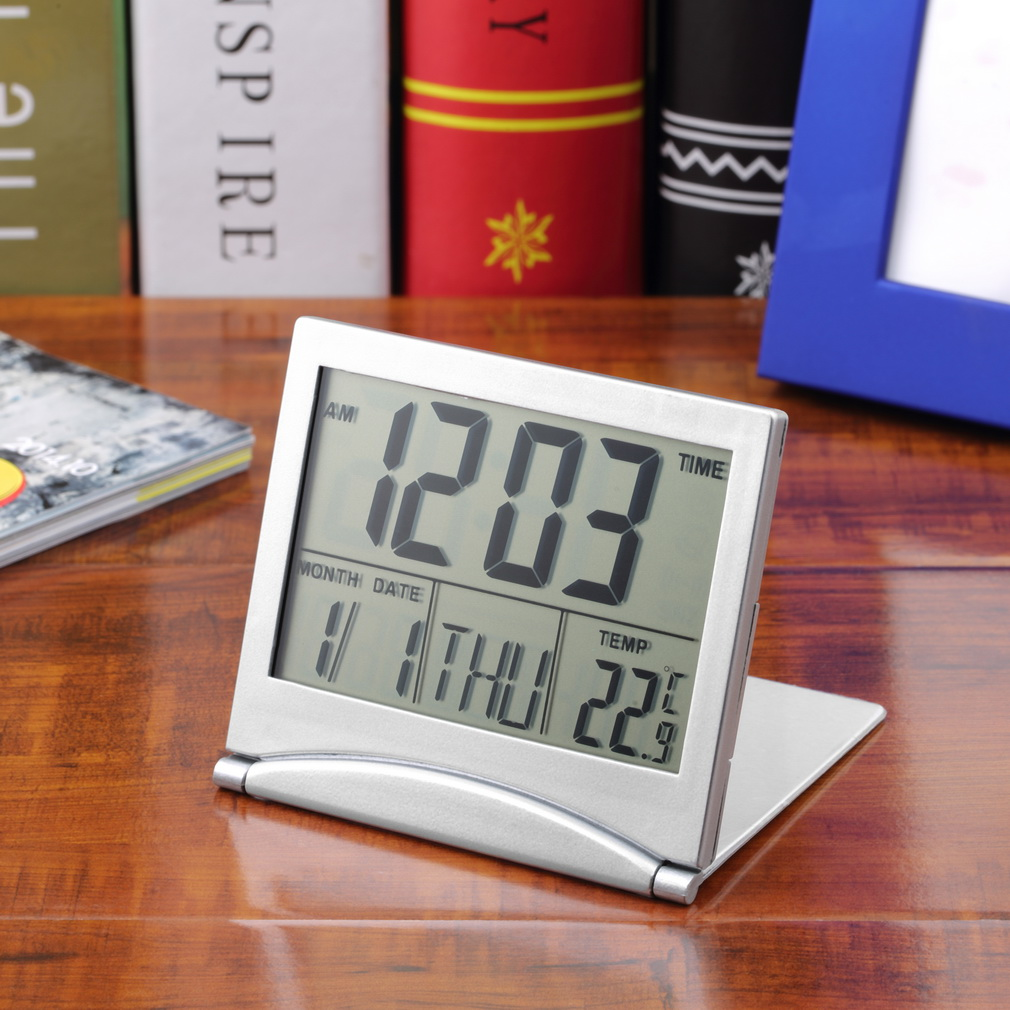 New Desk Digital LCD Thermometer Calendar Alarm Clock flexible cover