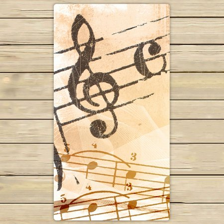 PHFZK Music Notation Poster, Abstract Grunge Melody Music Hand Towel Bath Bathroom Shower Towels Beach Towel 30x56 inches ()