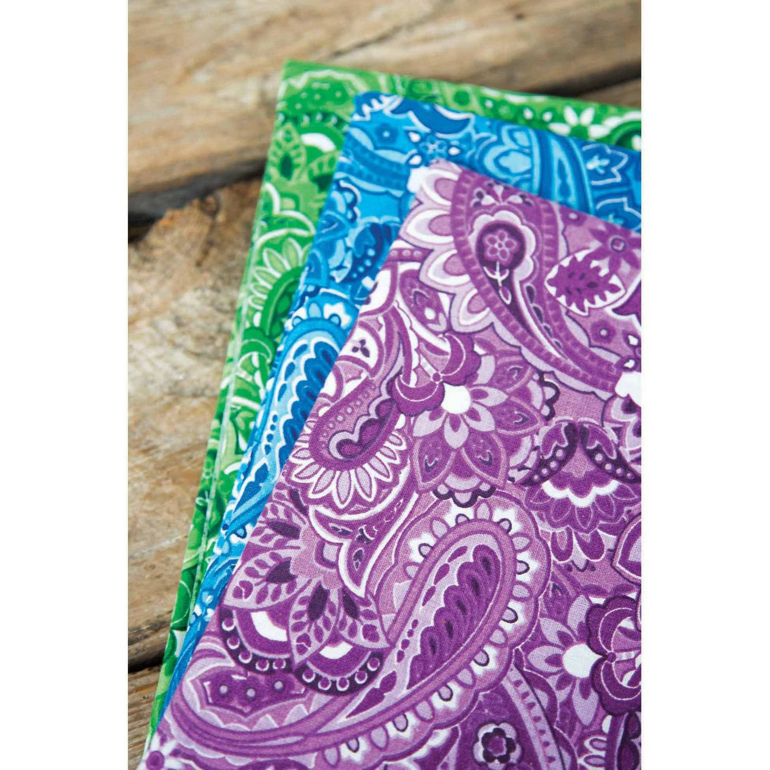"Paisley Explosion Printed Cotton Fabric Bundle, Gadabout Paisley Purple-Gadabout Paisley Blue-Gadabout Paisley Green, 43/44"" Width, 2-yd Cuts"