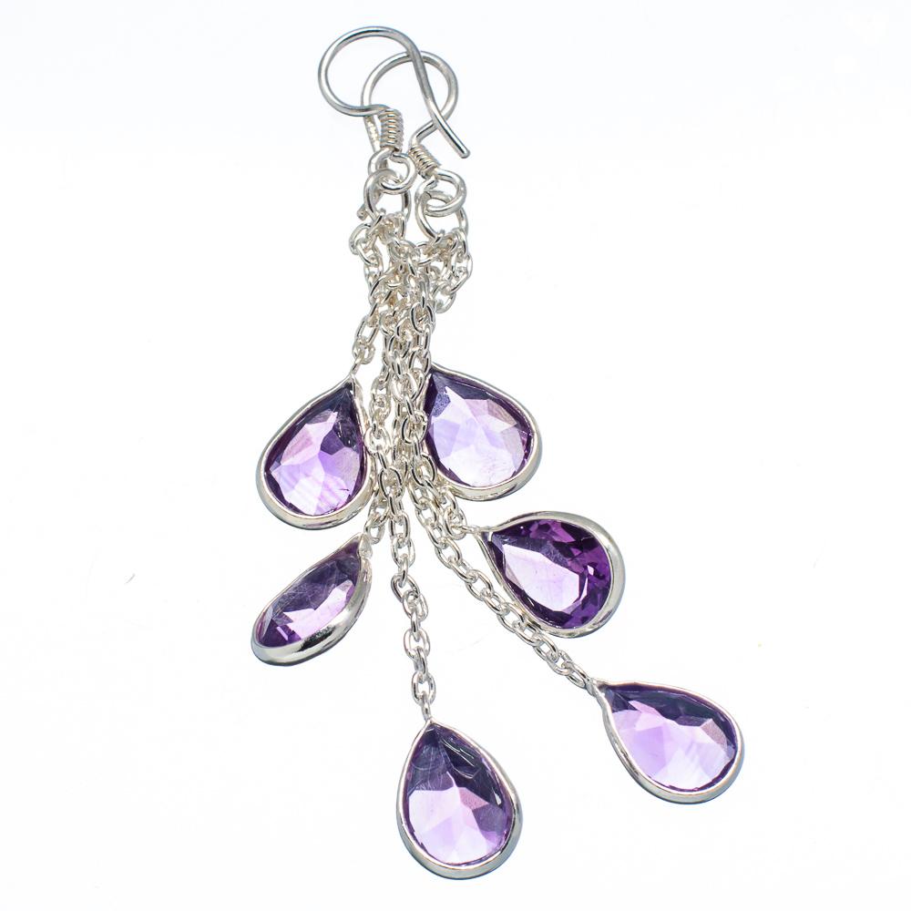 """Ana Co Faceted Amethyst 925 Sterling Silver Earrings 2 3/4"""" EARR342397"""