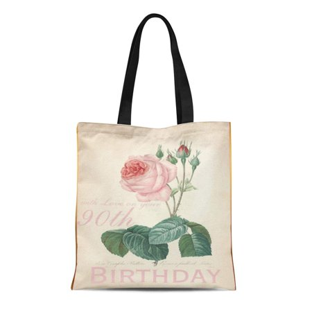 SIDONKU Canvas Tote Bag Watercolor Botanical 90Th Birthday Celebration Vintage Flowers Redoute Reusable Handbag Shoulder Grocery Shopping Bags