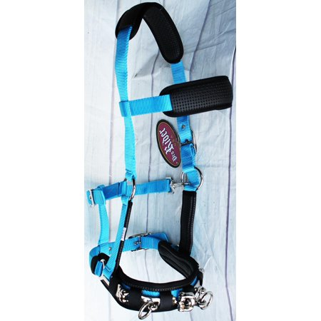 Cavesson Bridle - Nylon Lunge Padded Cavesson Halter Horse Tack Turquoise 606F03P