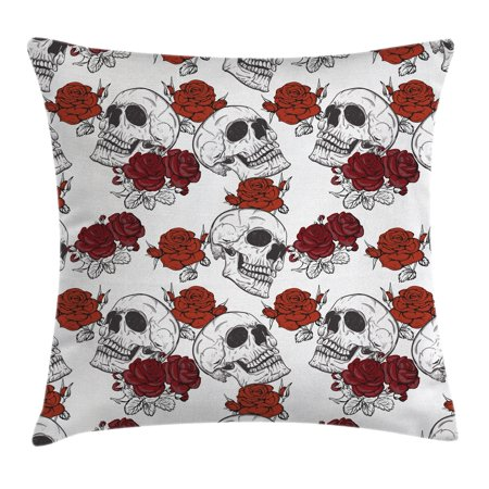 Skull Decorations Throw Pillow Cushion Cover, Retro Gothic Dead Skeleton Figures with Rose Halloween Spooky Trippy Romantic, Decorative Square Accent Pillow Case, 16 X 16 Inches, Grey, by Ambesonne