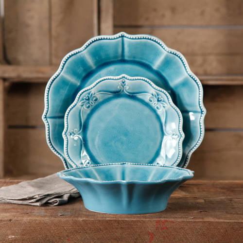The Pioneer Woman Paige Crackle Glaze Denim Dinnerware Set, 12 Piece