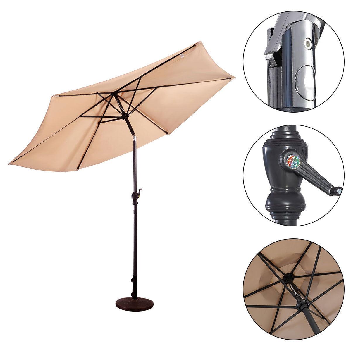 10ft Patio Umbrella 6 Ribs Market Steel Tilt W Crank Outdoor