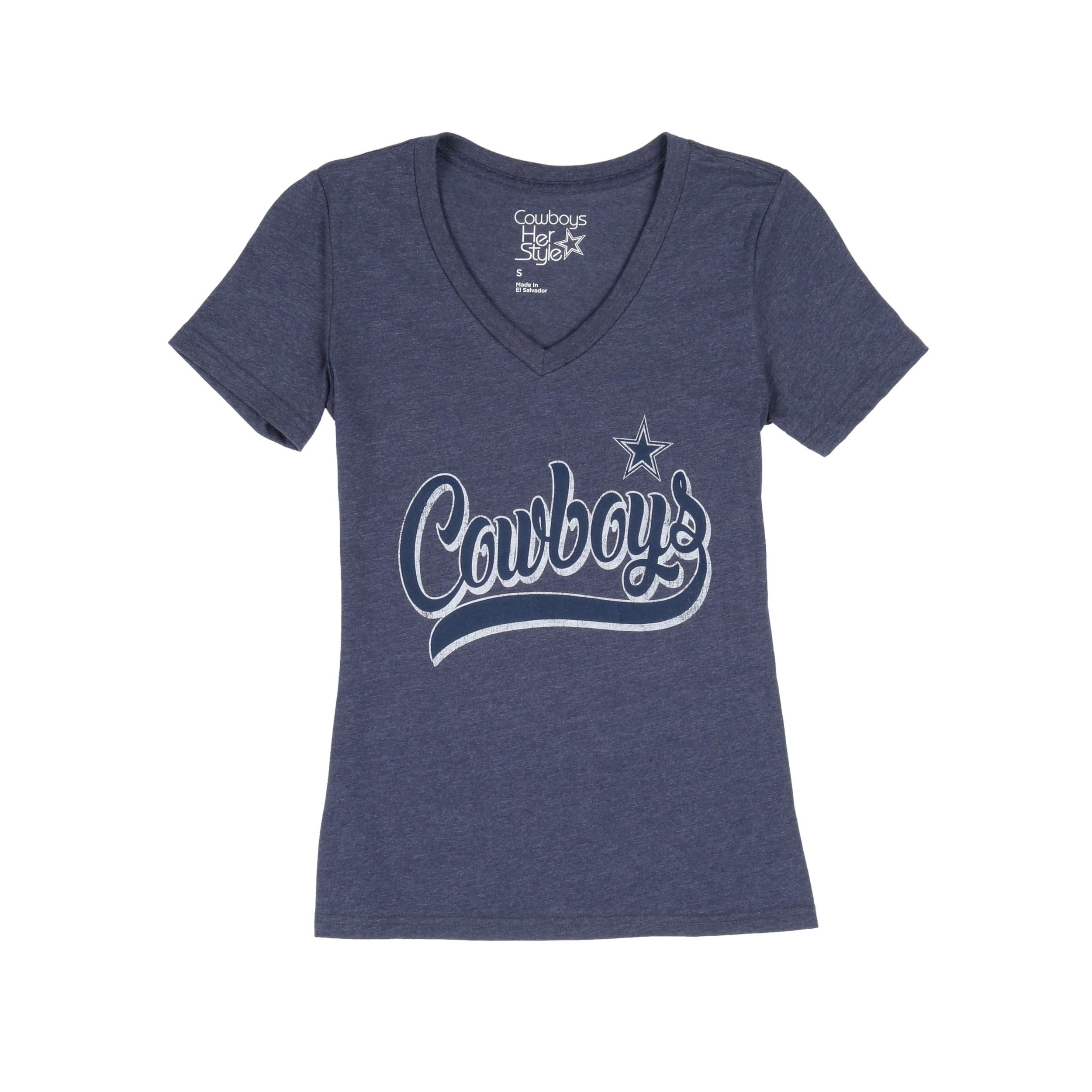 NFL Dallas Cowboys Women's Star Script V Neck Short Sleeve Tee Shirt