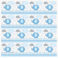 (3 pack) Elephant Baby Shower Wrapping Paper, 5 x 2.5 ft, Blue, 1ct
