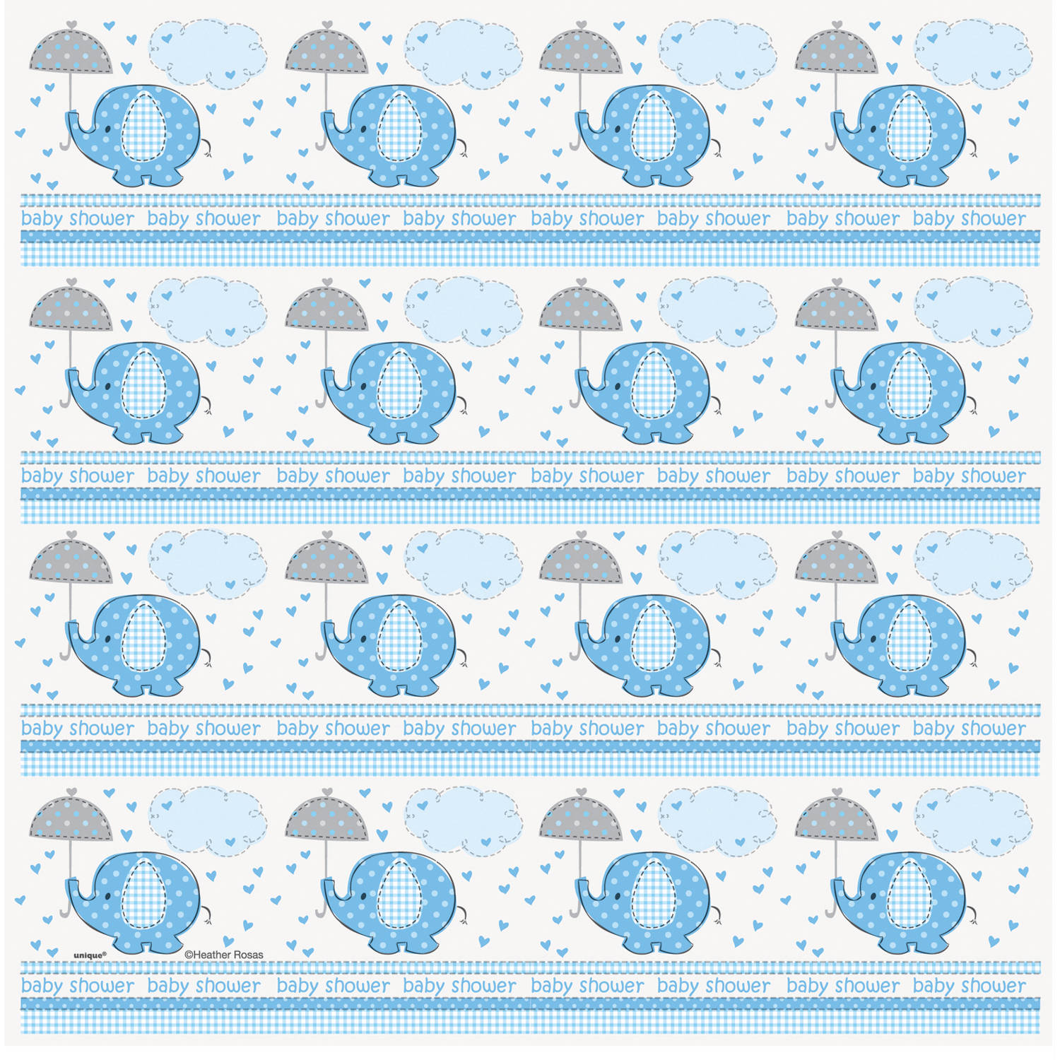 Elephant Baby Shower Wrapping Paper, 5 X 2.5 Ft, Blue, 1ct