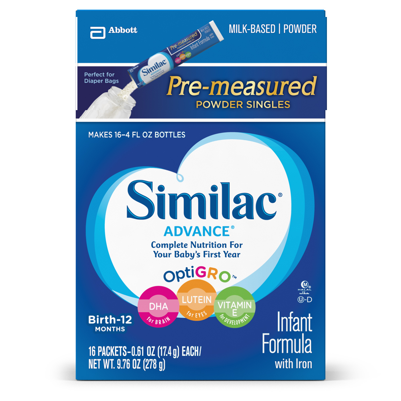 Similac Advance Infant Formula with Iron, On-the-Go Powder Sticks, 9.76 oz  (Pack of 4)