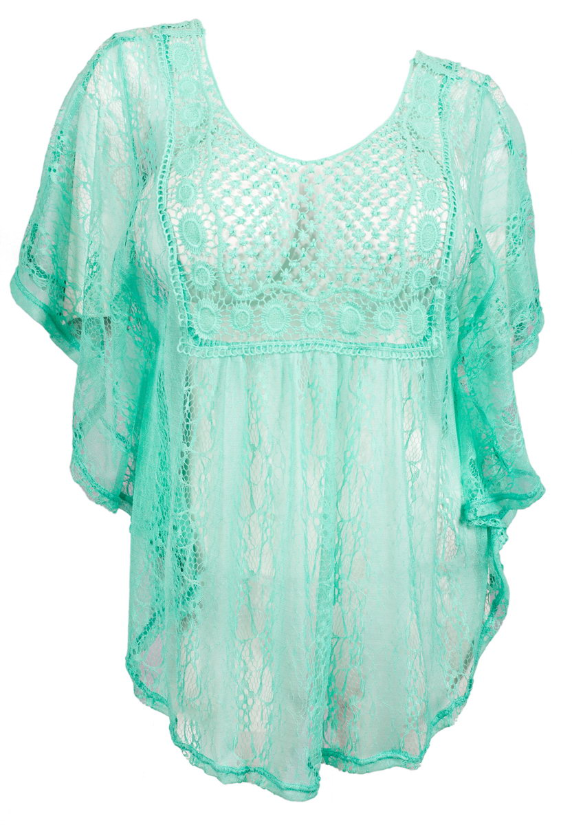 Evogues Plus Size Sheer Crochet Lace Poncho Top Mint Walmart Com