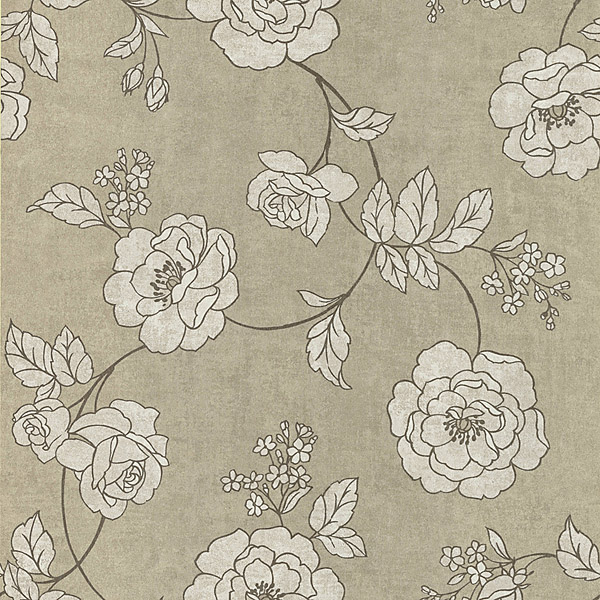 Kenneth James Madelaine Pewter Outline Rose Wallpaper