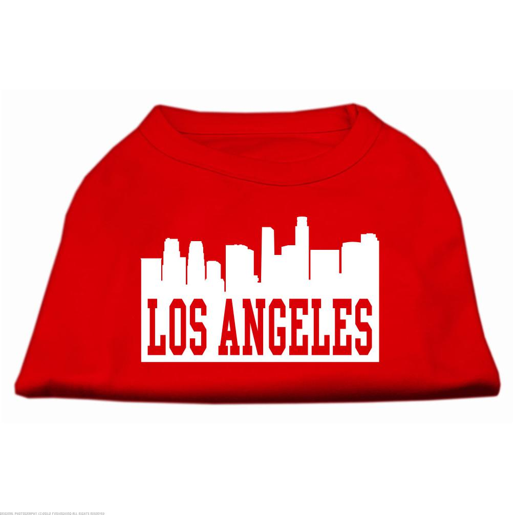 Los Angeles Skyline Screen Print Shirt Red Sm (10)