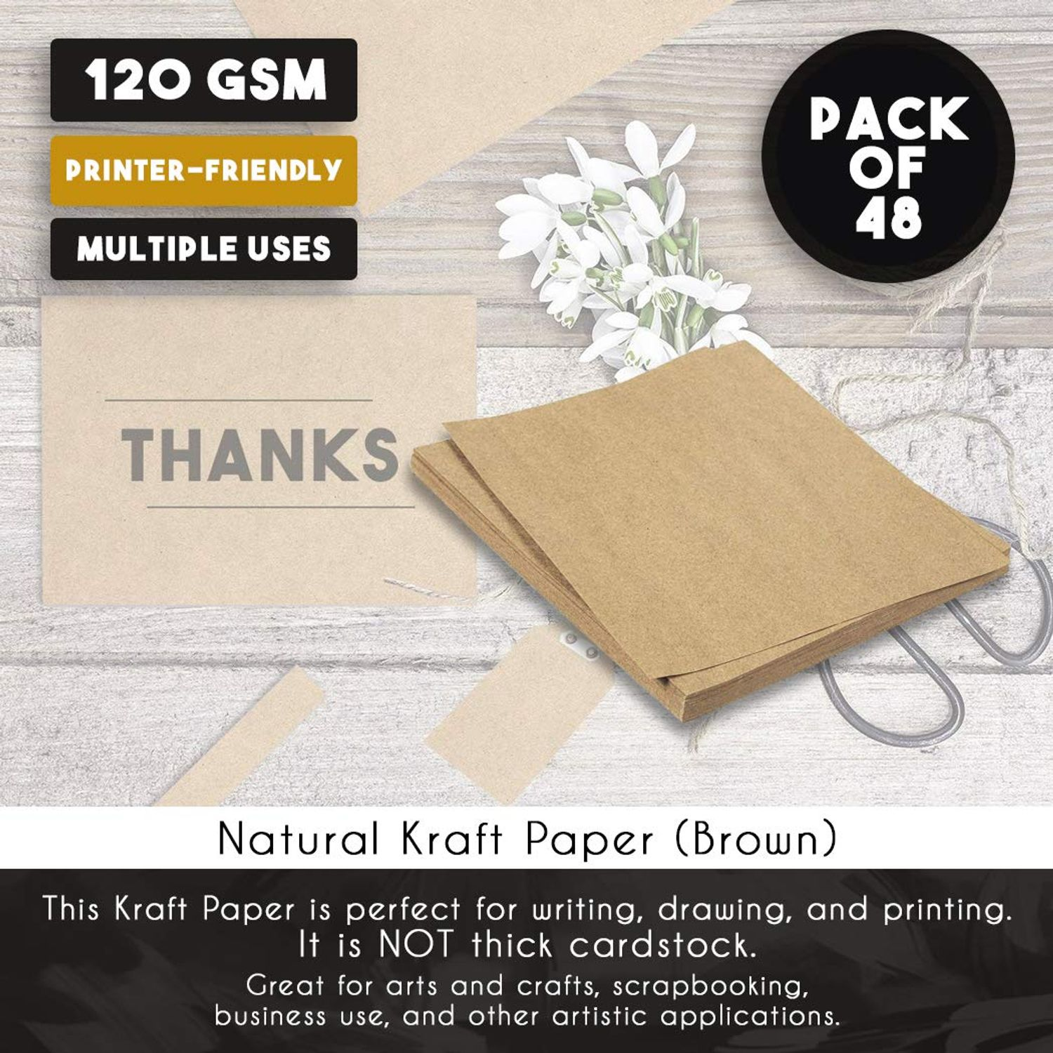 and Office Use 96 Sheets Pack 8.5 x 11 Inches Letter Sized Kraft Paper Perfect for Arts 120GSM Paper Crafts Kraft Brown Paper Sheets
