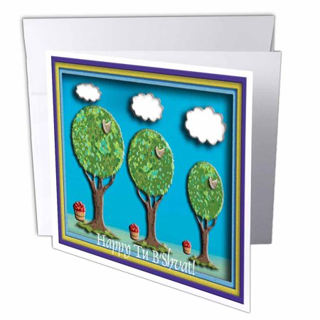 3dRose Trees Birds and Apples Happy Tu BShvat!, Greeting Cards, 6 x 6 inches, set of (Tu Bshvat Jigsaw)
