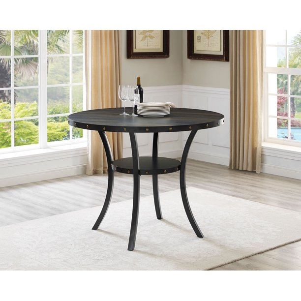Roundhill Biony Dining Collection Espresso Wood Counter Height Nailhead Round Dining Table Walmart Com Walmart Com