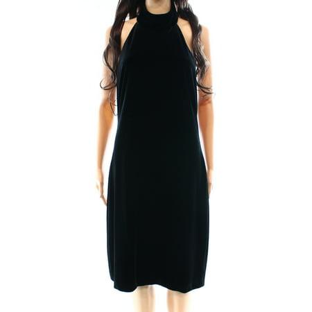 Lauren Ralph New Black Velvet Choker 0 Sheath Halter Dress