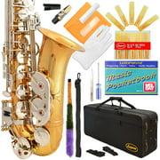 Lazarro® Professional Gold Body - Silver Keys Eb E Flat Alto Saxophone Sax with 11 Reeds, Case & Many Extras - 360-LN