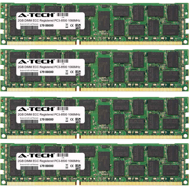8GB Kit 4x 2GB Modules PC3-8500 1066MHz ECC Registered DDR3 DIMM Server 240-pin Memory Ram