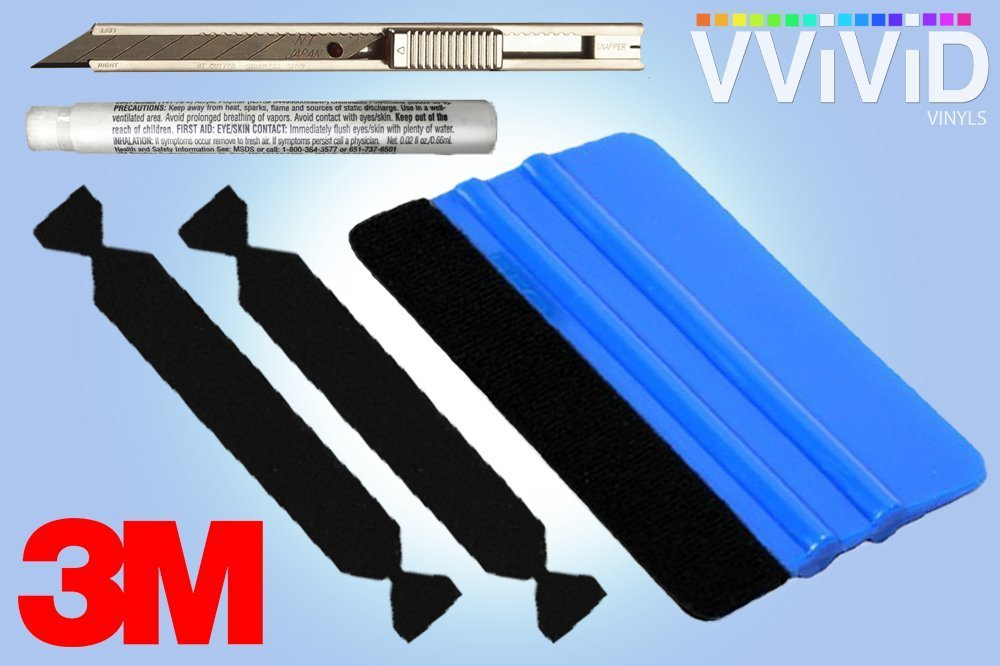 3M Blue Squeegee Plastic Applicator + Primer Pen + Professional Utility Knife + 2 Black Self Adhesive Felt... by