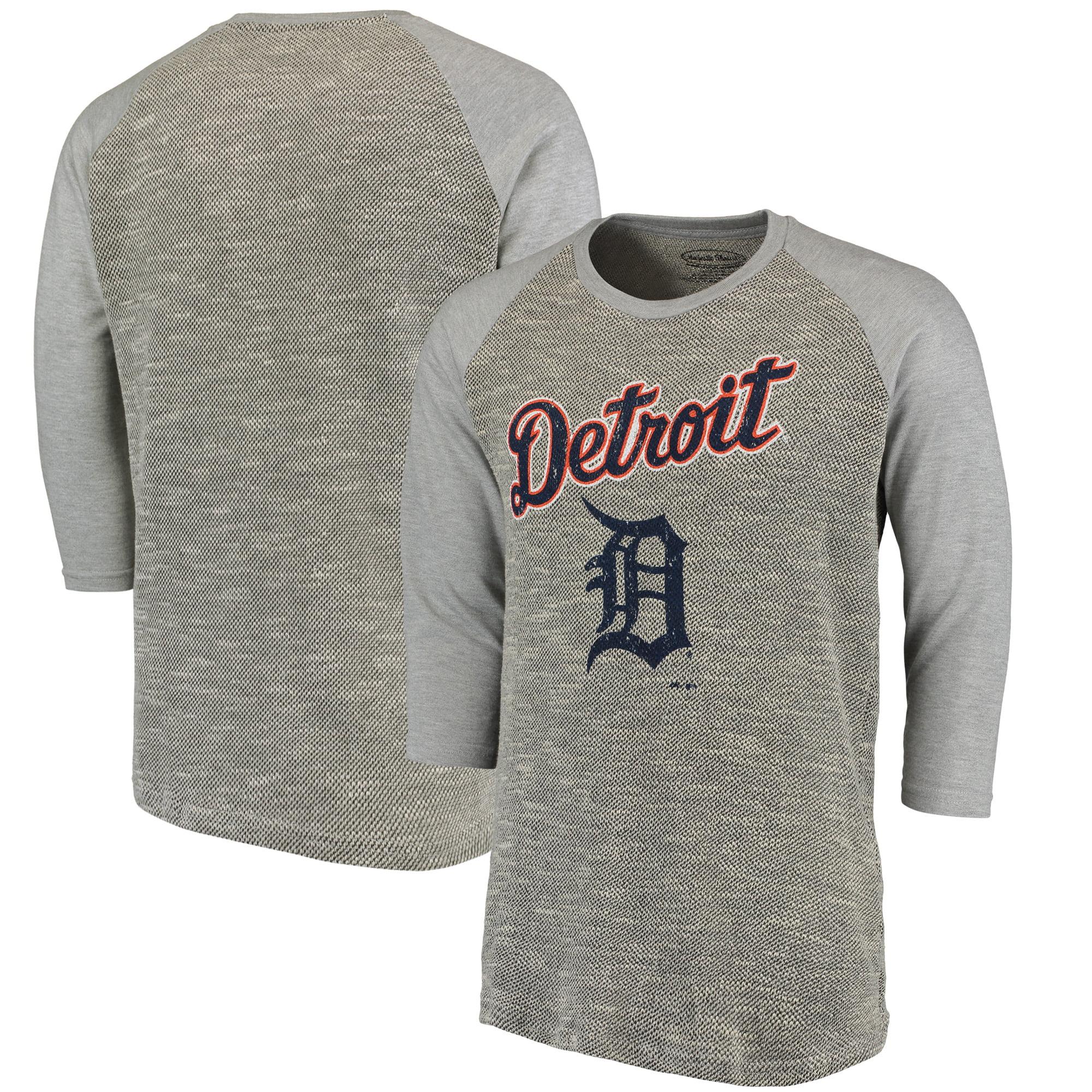 Detroit Tigers Majestic Threads Tri-Yarn French Terry 3/4-Sleeve Raglan T-Shirt - Gray