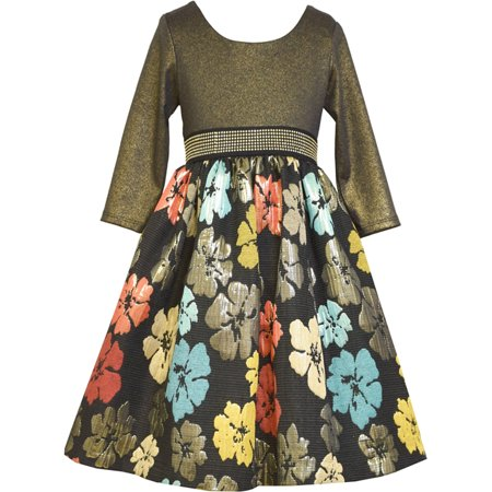 Big Girls Tween 7-16 Gold/Black/Multi Floral Brocade Social Party Dress, 10 - Tween Designer Dresses