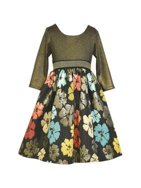 aeff6203bdd Product Image Big Girls Tween 7-16 Gold Black Multi Floral Brocade Social  Party Dress. Bonnie Jean