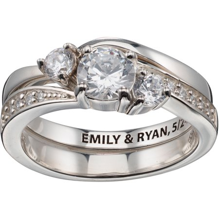 Personalized Sterling Silver 2 Piece Engraved CZ Wedding Ring Set