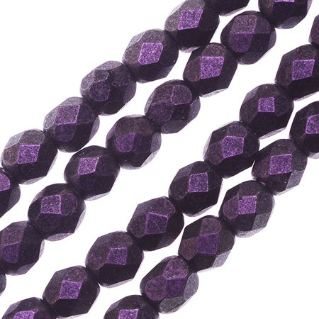 Czech Fire Polished Glass, 4mm Faceted Round Beads, 50 Piece Strand, Black Currant Polychrome