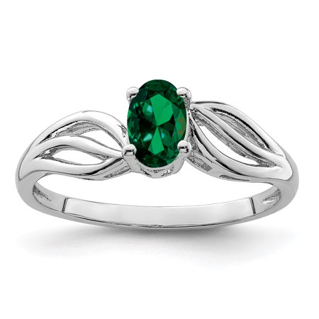 925 Sterling Silver Rhodium-Plated Created Emerald Ring - image 2 de 2