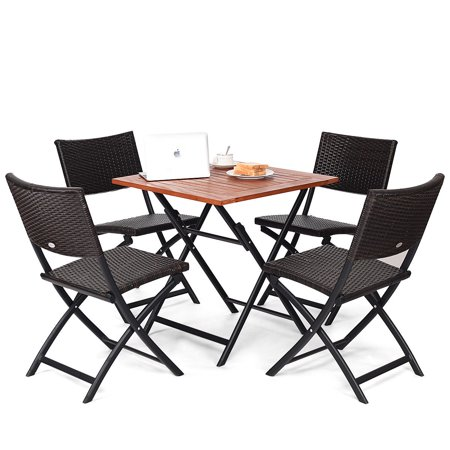Costway 5PCS Outdoor Folding Patio Dining Set 4 Deck Sling Back Rattan Chairs Table ()