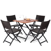 Costway 5PCS Outdoor Folding Patio Dining Set 4 Deck Sling Back Rattan Chairs Table