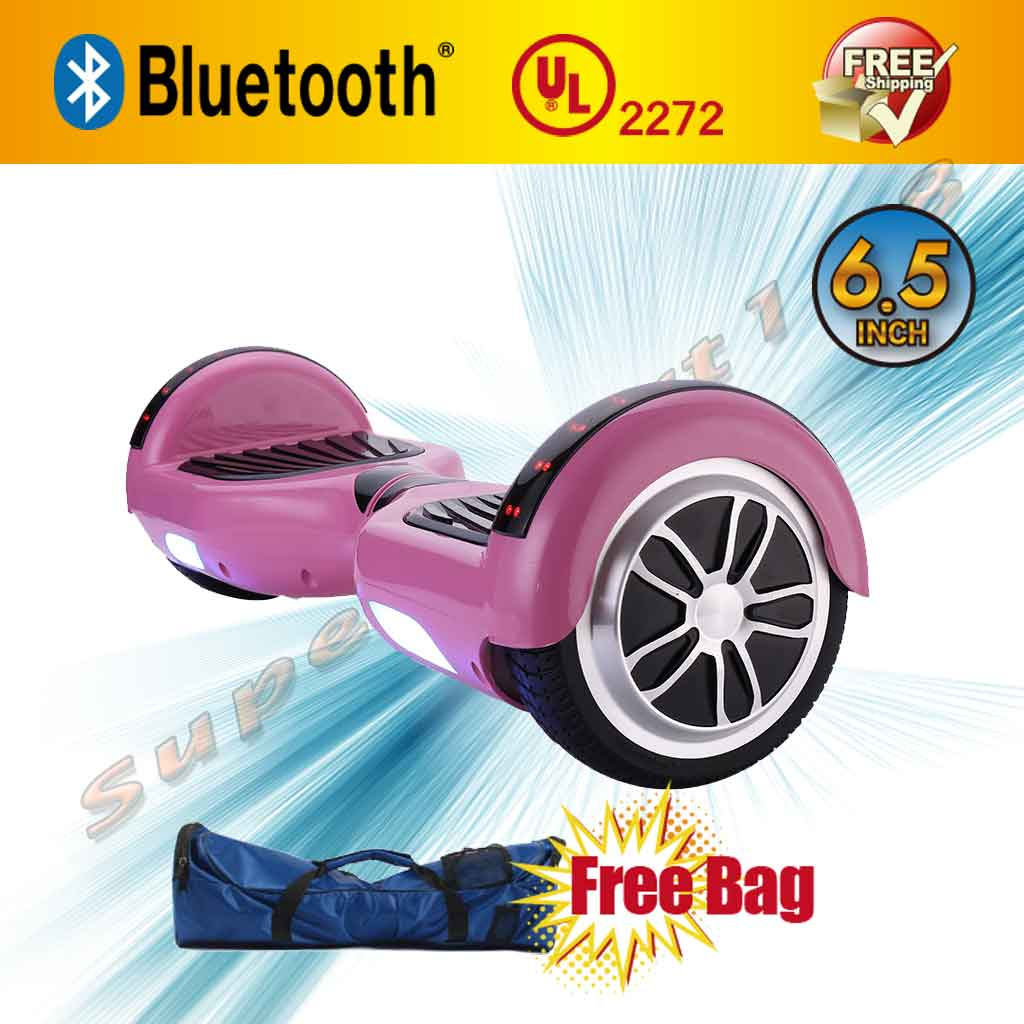 "UL2272 Certified Bluetooth 6.5"" Hoverboard Two Wheel Self Balancing Scooter with LED For Kids FREE Bag (WHEELS-UC6.5-PINK)"