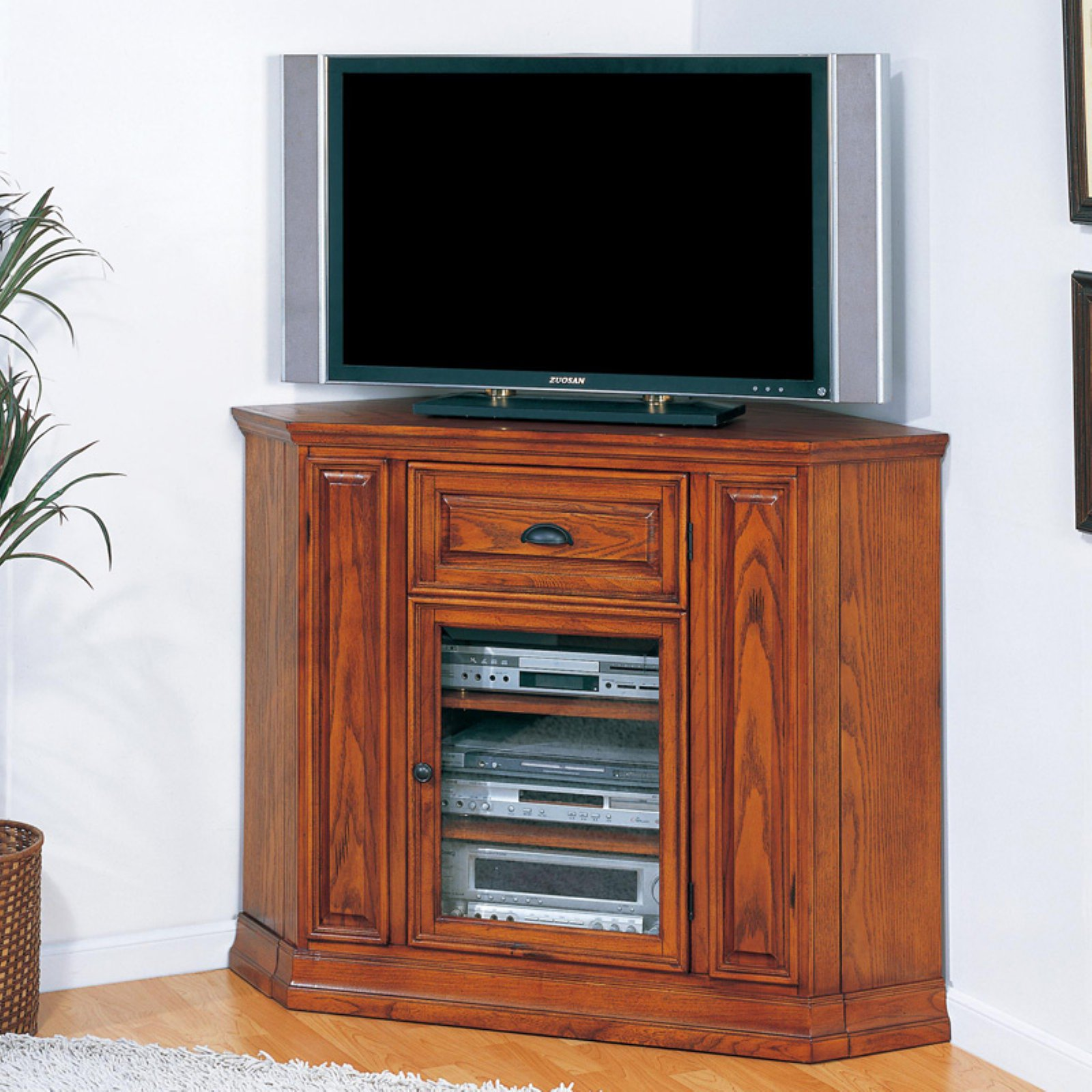 "Leick Home Boulder Creek 36"" Tall Corner TV Stand for TV's up to 46"", Medium Oak"