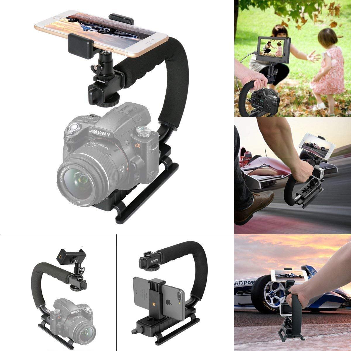 Fantaseal 4 in 1 Smartphone Action Camera Camcorder DSLR Camera Stabilizer C Shape Rig Low Position Shooting S