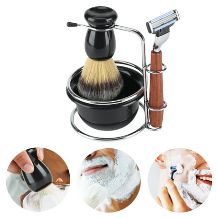 4Pcs Shaving Kit Manual Razor + Stainess Steel Stand Holder + Brush + Bowl Set, Shaving Razor Set, Shaving Bowl Set