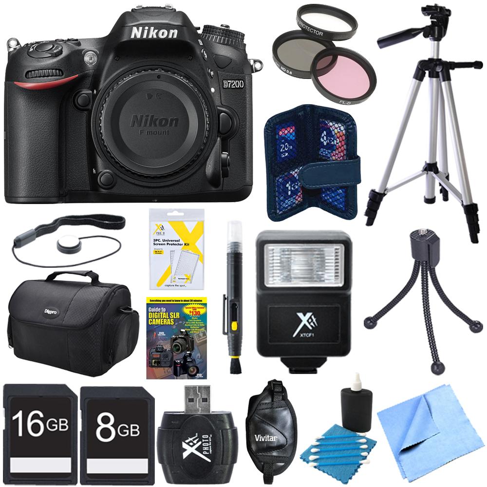 Nikon D7200 DX-Format 24.2MP Digital HD-SLR Body Bundle w...