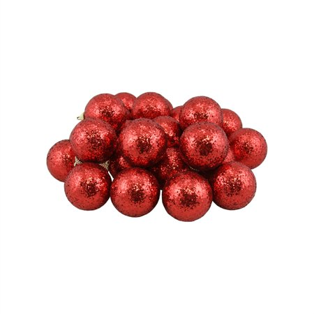 Sequined Ball (24ct Red Shatterproof Sequin Finish Christmas Ball Ornaments 2.5