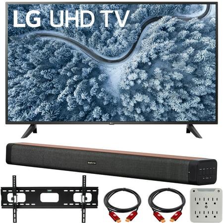 LG 65 Inch UP7000 Series 4K LED UHD Smart webOS TV (2021 Model) Bundle with Deco Home 60W 2.0 Channel Soundbar, 37-70 inch TV Wall Mount Bracket Bundle and 6-Outlet Surge Adapter