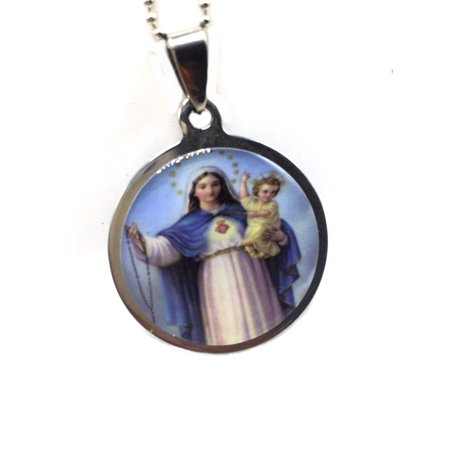 357 Lineage Pendant (Mother Mary Baby Jesus Steel Pendant 2 Necklaces 3 Pcs Anti-Tarnish Set, J-357-D )