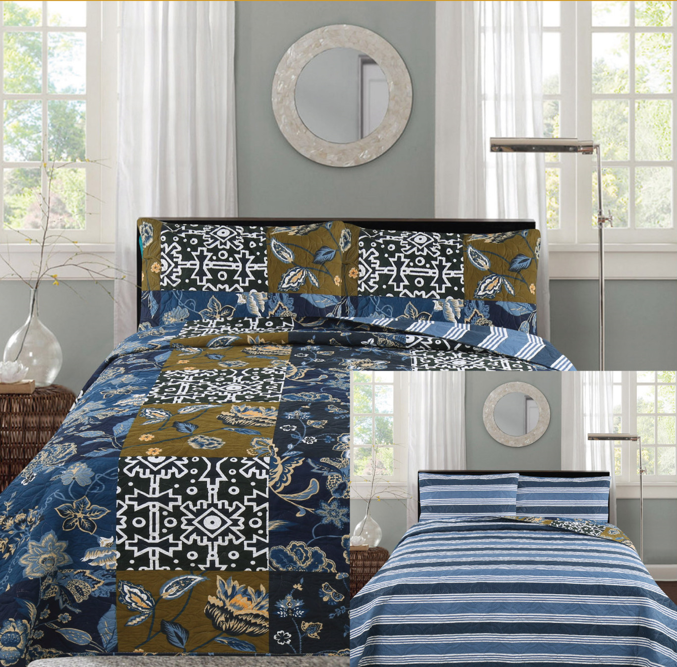 Click here to buy All American Collection New 3pc Printed Reversible Modern Floral Bedspread Coverlet Navy by American Linen & Rugs.