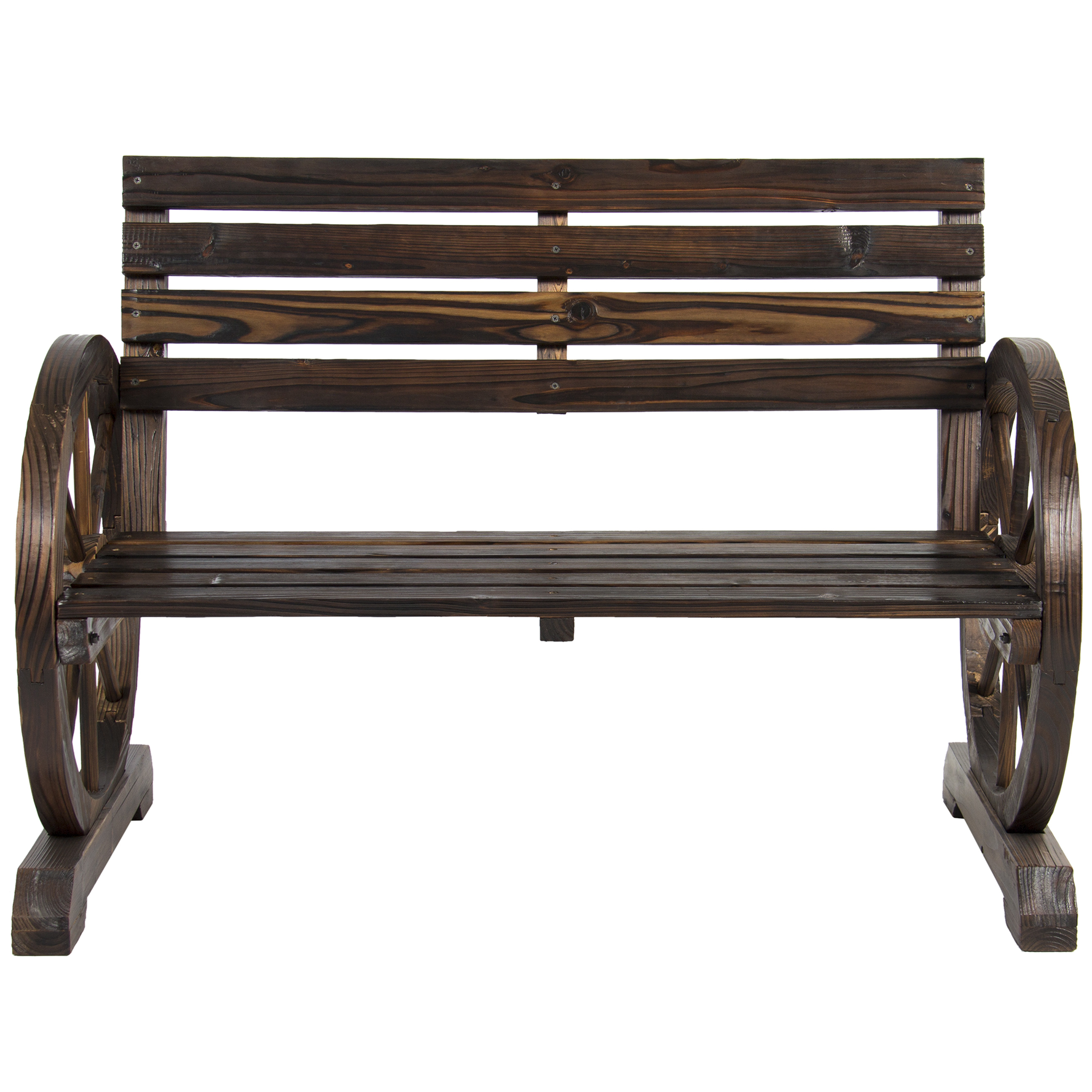 Marvelous Patio Outdoor Garden Bench Wood Wagon Wheel Patio Garden Furniture Deck Seat