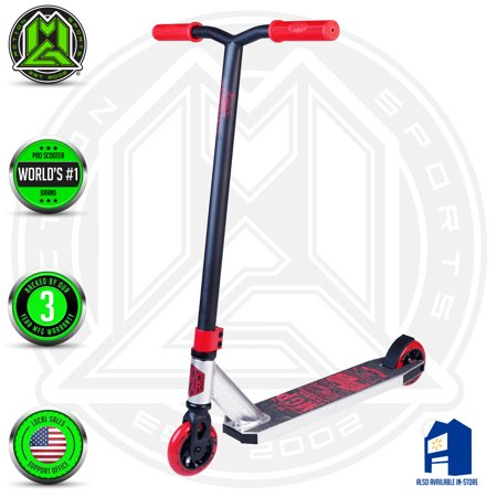 1 Scooter - MADD GEAR – CARVE ELITE – Silver Red – Suits Boys & Girls Ages 8+ - Max Rider Weight 220lbs – 3 Year Manufacturer's Warranty – World's #1 Pro Scooter Brand – Built to Last! Madd Gear Est. 2002