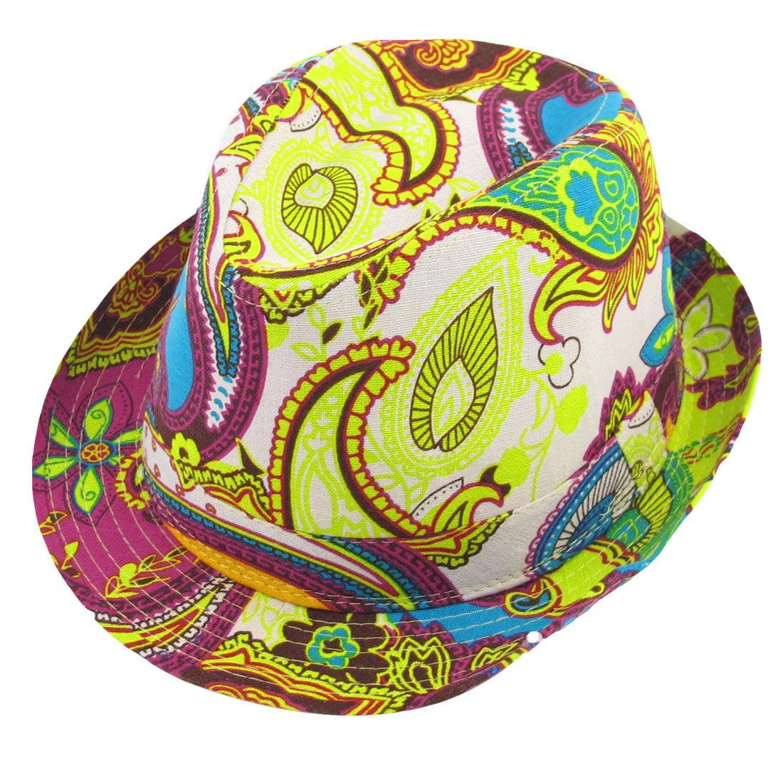 Allegra K Men Ladies Summer Beach Floral Pattern Yellow White Blue Fedora Trilby Hat Cap