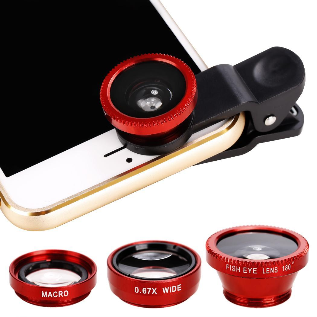Practical Portable&Detachable Universals 3 in1 Fisheye Wide Angle Macro Camera Lens Kit Clip On for Digital Camera/Mobile Phone/Tablet PESTE